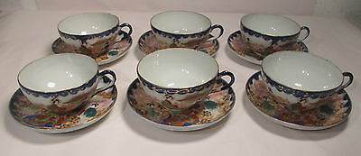 Six Delicate Chinese Porcelain Cup and Saucer Sets 19c to Early 20c