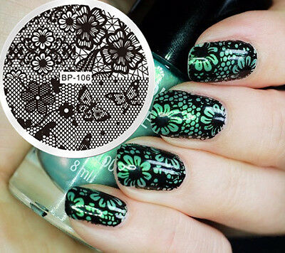 BORN PRETTY Nail Art Stamping Image Plate Stencil Lace Butterfly DIY BP-106