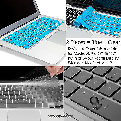 "Soft Durable 2Pcs Silicon Keyboard Skin for Macbook Air Pro/Retina 13"" 15'' 17''"
