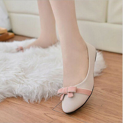 New Women's OL Lady's Bow Ballerina Nubuck leather Flats Slippers Casual Shoes