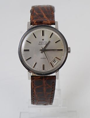 Vintage Zenith automatic 28800 watch with brown leather strap with date working