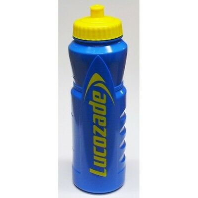 LUCOZADE Drinks Water Bottle 1 ltr Pull Up Top Blue Yellow Finger Grooves