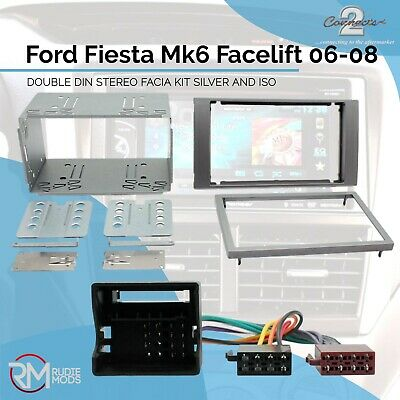 Ford Fiesta Mk6 Facelift 06-08 Silver Double Din Facia Fitting Kit and ISO