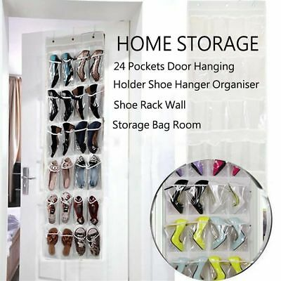 24 Pockets Clear Over Door Hanging Bag Shoe Rack Hanger Storage Tidy Organizer