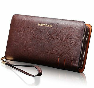 Teemzone Wallet Mens Leather Business Style Clutch Bag with Wrist Strap Brown