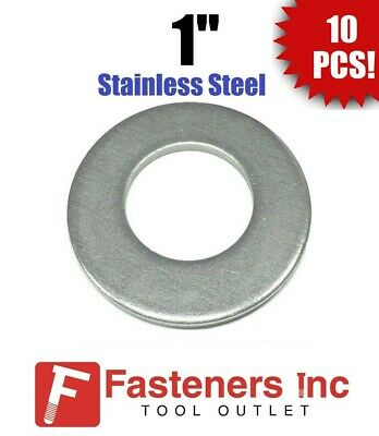 """(Qty 10) 1"""" Stainless Steel Flat Washers 18-8 Stainless 2"""" OD / .105 Thick"""