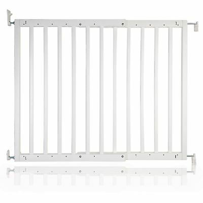 Safetots Chunky White Wooden Stair Gate 63.5 - 105.5cm Wooden Baby Gate