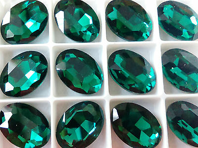 18mmx25mm  Faceted Oval Glass  Chaton Crystals  Fancy  Cabochons Emerald 1pcs