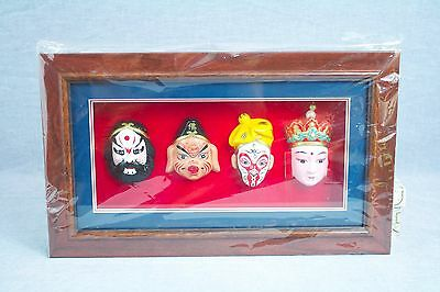 NEW in Box Set of 4 Chinese Beijing Opera Face Makeup Masks in Wood Shadowbox