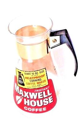 """VTG Maxwell House Corning Glass INSTANT COFFEE Maker Pot 10 oz 8"""" Promotional"""
