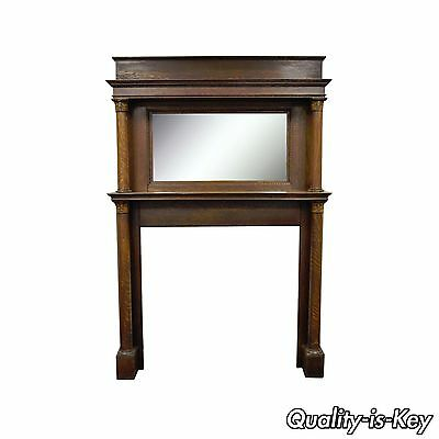 84 x 55 Antique Tiger Oak Fireplace Mantel Surround Mirror Architectural Salvage