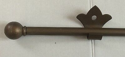 Bronze Metal Curtain Rod With Finials & 2 Bracket Holders Home Decor