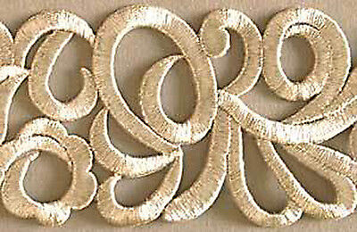 """Wide Embroidered Iron-On Trim 1½ Yards Silver Scrolls 3"""" Wide DIY"""