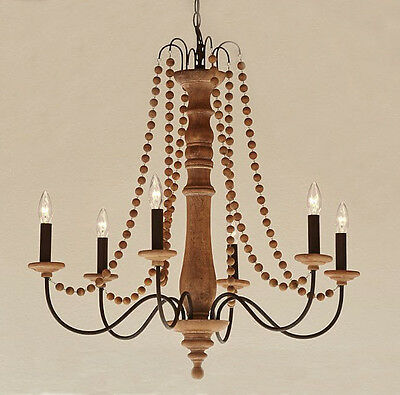 Pottery Barn Evelyn Turned Wood Indoor/Outdoor Chandelier ~ New ~ Authentic