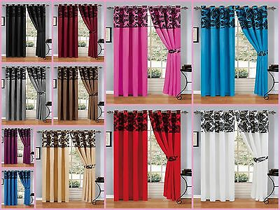 New Luxury Fully Lined Damask Flock Eyelet Ringtop Curtains With Tie Backs