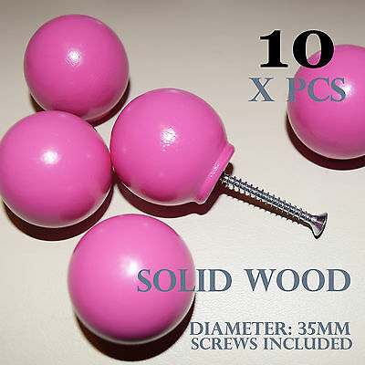 10 Wooden Knobs Pink Chilrens Furniture Cabinets Drawers Cupboards 35mm Amazoak