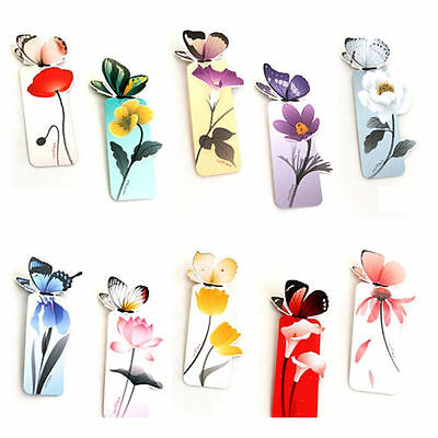 4pc Cute Butterfly On Flower Exquisite Paper Bookmarks Book Markers Readers Gift