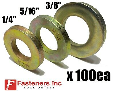 """Qty 100 EA) 1/4"""" + 5/16"""" + 3/8"""" Grade 8 Extra Thick SAE Flat Washers (300 TOTAL)"""