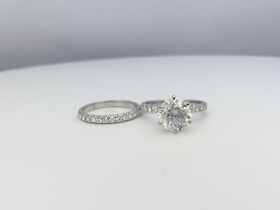 Certified Band Set Diamond Ring Vvs1 D Ladies 3 Ct 14K White Gold Round Cut