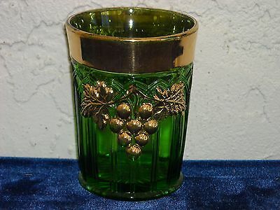 EAPG Northwood Grape and Gothic Arches Tumbler  Green with Gold