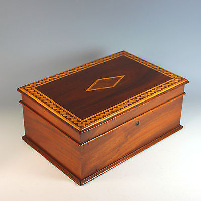 Antique Inlaid Wood Dresser Box with Separate Tray