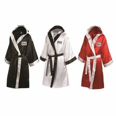 Everlast Boxing Professional Fight Hooded Robe Pro Boxer Black White Red