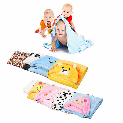 Cute Soft Animal Flannel Cartoon Baby Kids' Hooded Towel Toddler Blankets AU