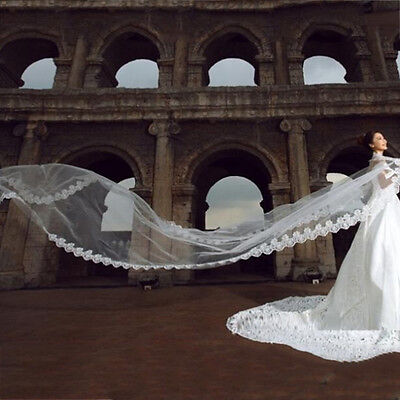 3 Meters Long Lace Edge Cathedral Wedding Gown Bridal White Tulle Veil FG