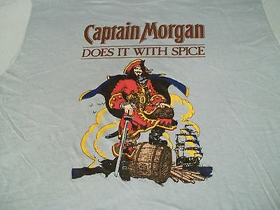 BRAND NEW! True Vtg CAPTAIN MORGAN Does It With Spice SPICED RUM XL 80's T-SHIRT