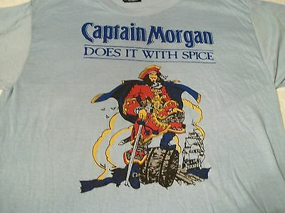 New NOS True Vtg CAPTAIN MORGAN RUM Does It With Spice LARGE 80's Liquor T-SHIRT