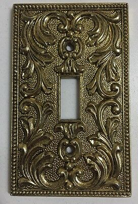 Vintage Brass Light Switch Cover Plate Ornate Floral Design Single Toggle