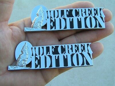 ~ WOLF CREEK EDITION PAIR CAR BADGES Chrome Metal Emblems *NEW* suit HOLDEN UTE