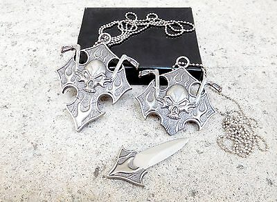 Chopper Skull Pendant Necklace Chain with Small Hidden Fixed Blade Dagger Knife