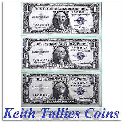 1957 A Silver Certificate x 3 Consecutive Serial Numbers US Currency