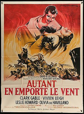 """GONE WITH THE WIND beautiful French 46""""x63"""" RI poster GWTW  Film Art Gallery"""