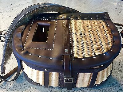 Custom Made Restored Leathered Fishing Creel/basket Functional Or Decorative