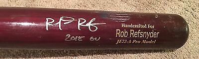 Rob Refsnyder GAME USED 2015 CRACKED BAT autograph SIGNED Yankees