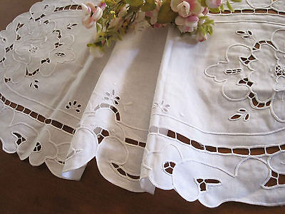 Vintage Style Rose Ribbon Embroidery Hemstitch Cutwork Cotton White Table Runner
