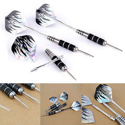 3Pcs Competition Tungsten Steel Needle Tip Darts With Black Flame Dart Flights