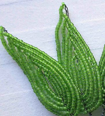 Vintage Glas Beaded Leaves Green Hand French