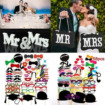 58pcs Photo Booth DIY Mask Mustache Stick Props Wedding Birthday Christmas Party