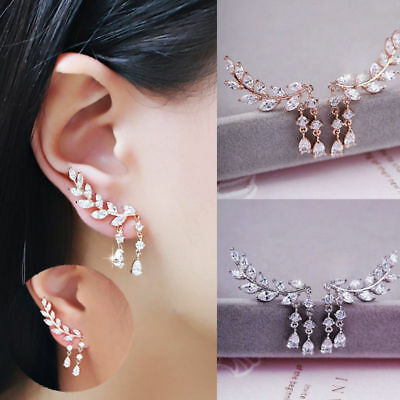 1Pair Mujer Aretes Pendientes Hoja Strass Cristal Earrings Ear Cuff Stud Clip