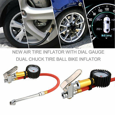 Red Air Tire Inflator With Dial Gauge Dual Chuck Tire Ball Bike Inflator xlA