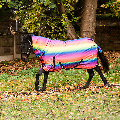 "Horse Pony Turnout Rug Rainbow 300g Heavyweight Waterproof Sizes 4'6"" to 7'3"""