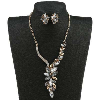 1 Necklace Earrings Set Bridal Crystal Alloy Silver Wedding Jewelry