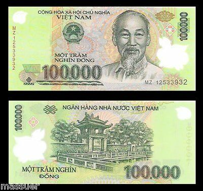 Vietnam 100 000 Dong Currency Vnd Polymer Banknote Lot Of 1 Asian Bank Note