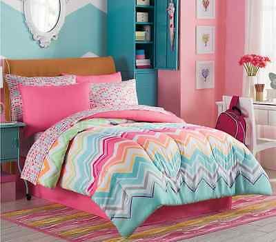 Marielle Twin Size Complete Girl Comforter Set Teen Bedding Collection Pink Teal 93 85 Picclick
