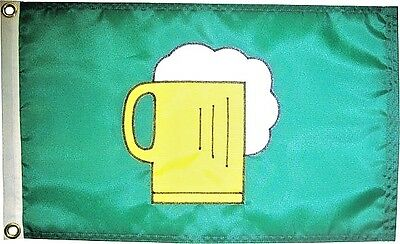 "12""x18"" Beer Mug Flag on Green Hand Sewn in the USA Best Quality"