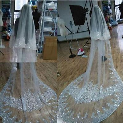 Sequins White/Ivory Luxury Cathedral Wedding Veil 2 Tiers Bridal Veils