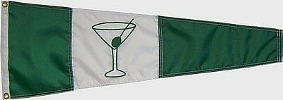 """Gin Pennant Green and White 12""""x36"""" Hand Sewn in the USA Quality Boating Flag"""